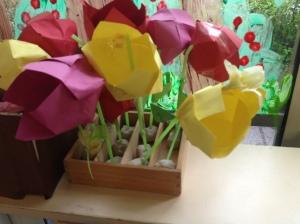 bloemen in bak